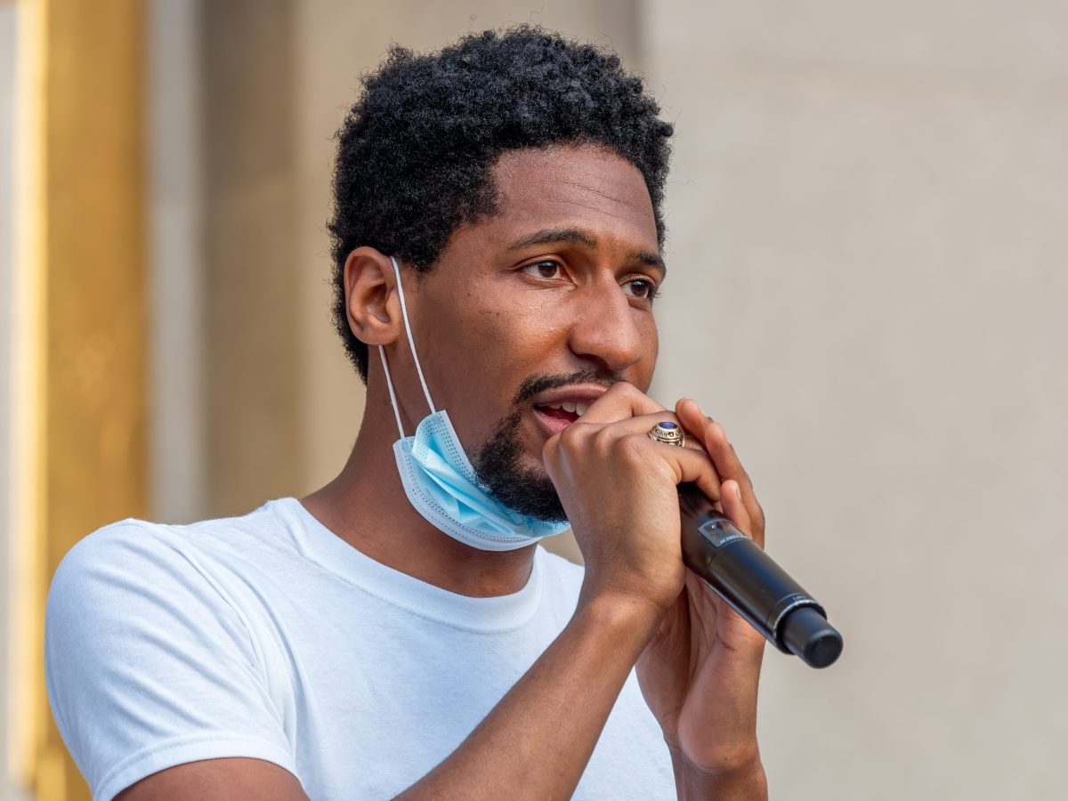 """Jon Batiste performing at a Juneteenth celebration and voter registration recital called """"We Are"""" on the steps of the Brooklyn Public Library in June 2020 (306979)"""