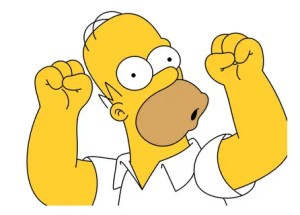 Homer Simpson celebrating that Dutch women usually make the first move