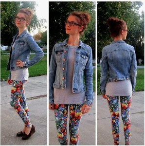 Stylish Dutch girl in floral leggings