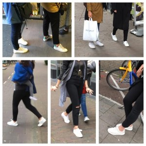 Women wearing white sneakers in Amsterdam like clones