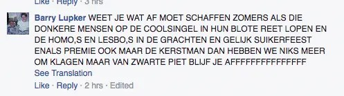 hatespeech on Facebook caused by objections to zwarte piet