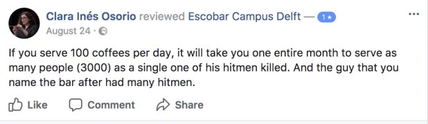 Comment about the number of people killed by Pablo Escobar