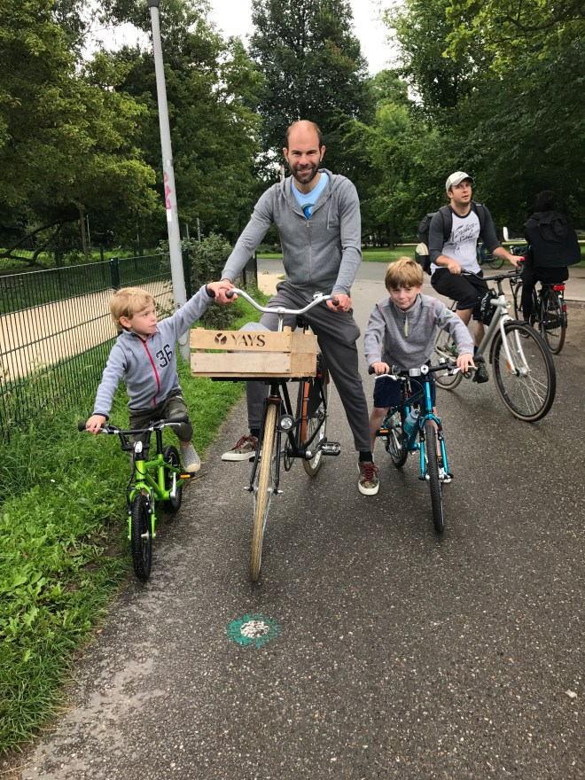 Kids on bikes in Amsterdam