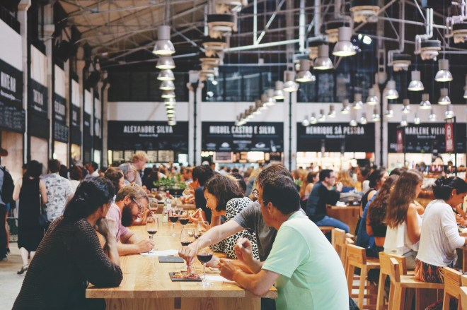 People eating in Foodhallen Amsterdam