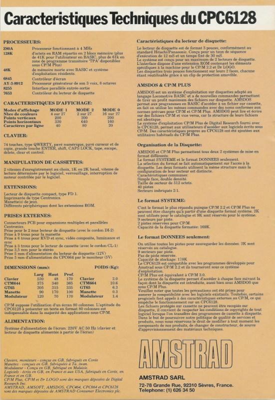 CPC 6128 Caractéristiques