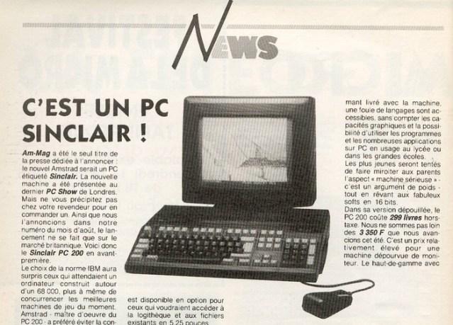 Sinclair PC 200 (Am-Mag n°39 – 1988)