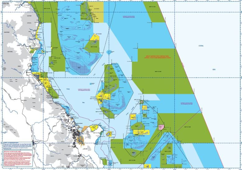 A map of marine park zoning in the Great Barrier Reef as an example of a similar zoning in the South China Sea