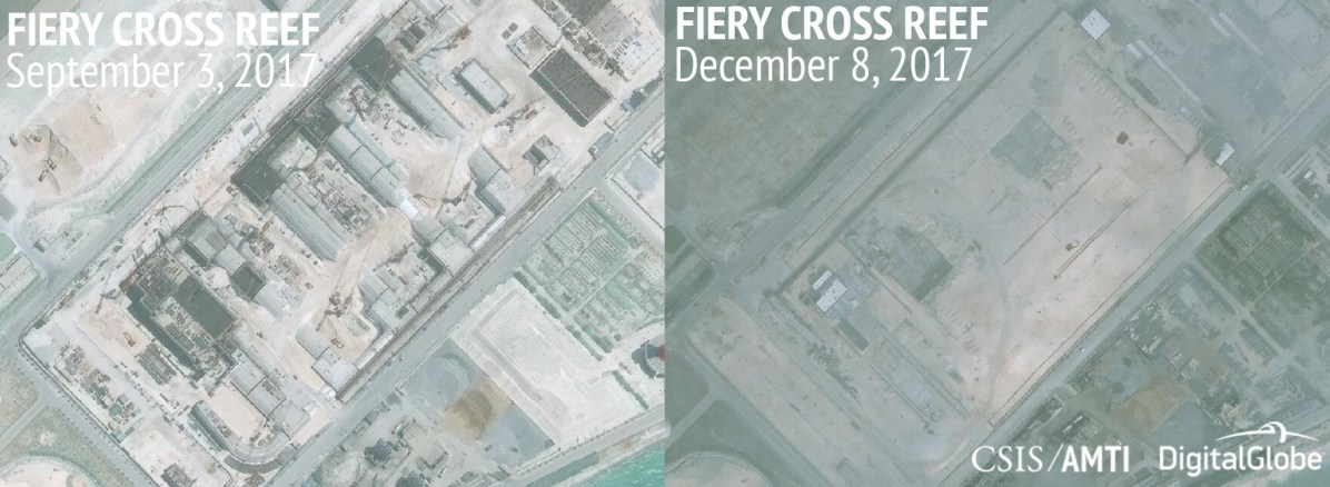 Fiery Cross Reef, September 3 and December 8, 2017
