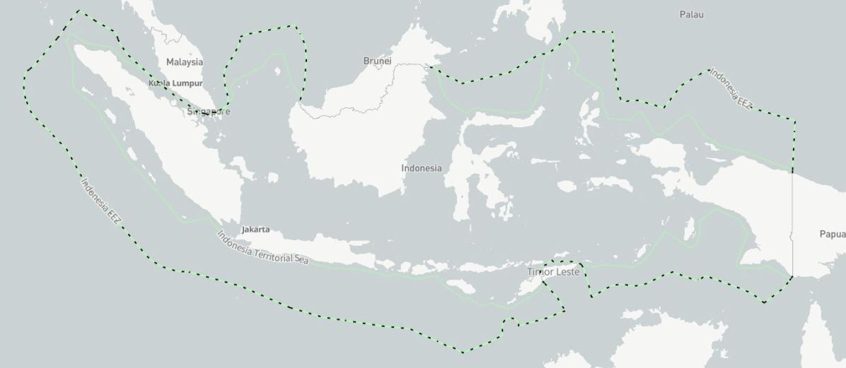 Indonesia's potential new ADIZ, according to the conditions in Government Regulation 4 of 2018 on Airspace Security, would cover the area between Indonesia's territorial sea boundary and it's exclusive economic zone boundary. Map data does not reflect recent changes made to Indonesia's EEZ claims.