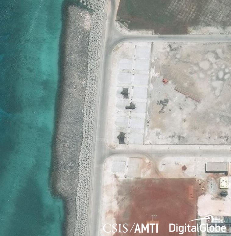 Military jamming equipment deployed on Mischief Reef, May 6, 2018.