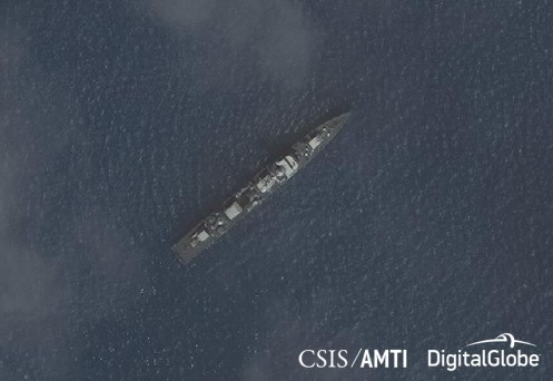 A ship believed to be a Type 053H1 frigate near Subi Reef, December 7, 2017.
