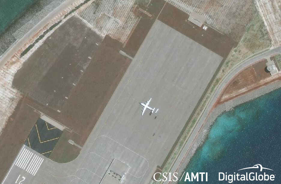 A Shaanxi Y-8 military aircraft at the airstrip on Subi Reef, April 28, 2018.
