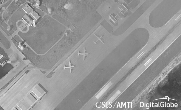 Three Shaanxi Y-8 military transport and reconnaissance planes on Woody Island, November 15, 2017.