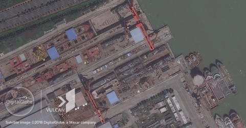 The nine vessels of the Yue Tai Yu fleet under construction at Guangxin Shipbuilding & Heavy Industry Co., Ltd on August 26, 2017. (© DigitalGlobe, Inc. and © Vulcan Technologies LLC. All Rights Reserved)