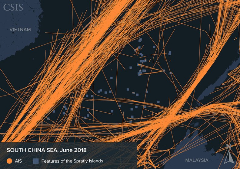 AIS signals detected in the South China Sea in June 2018.