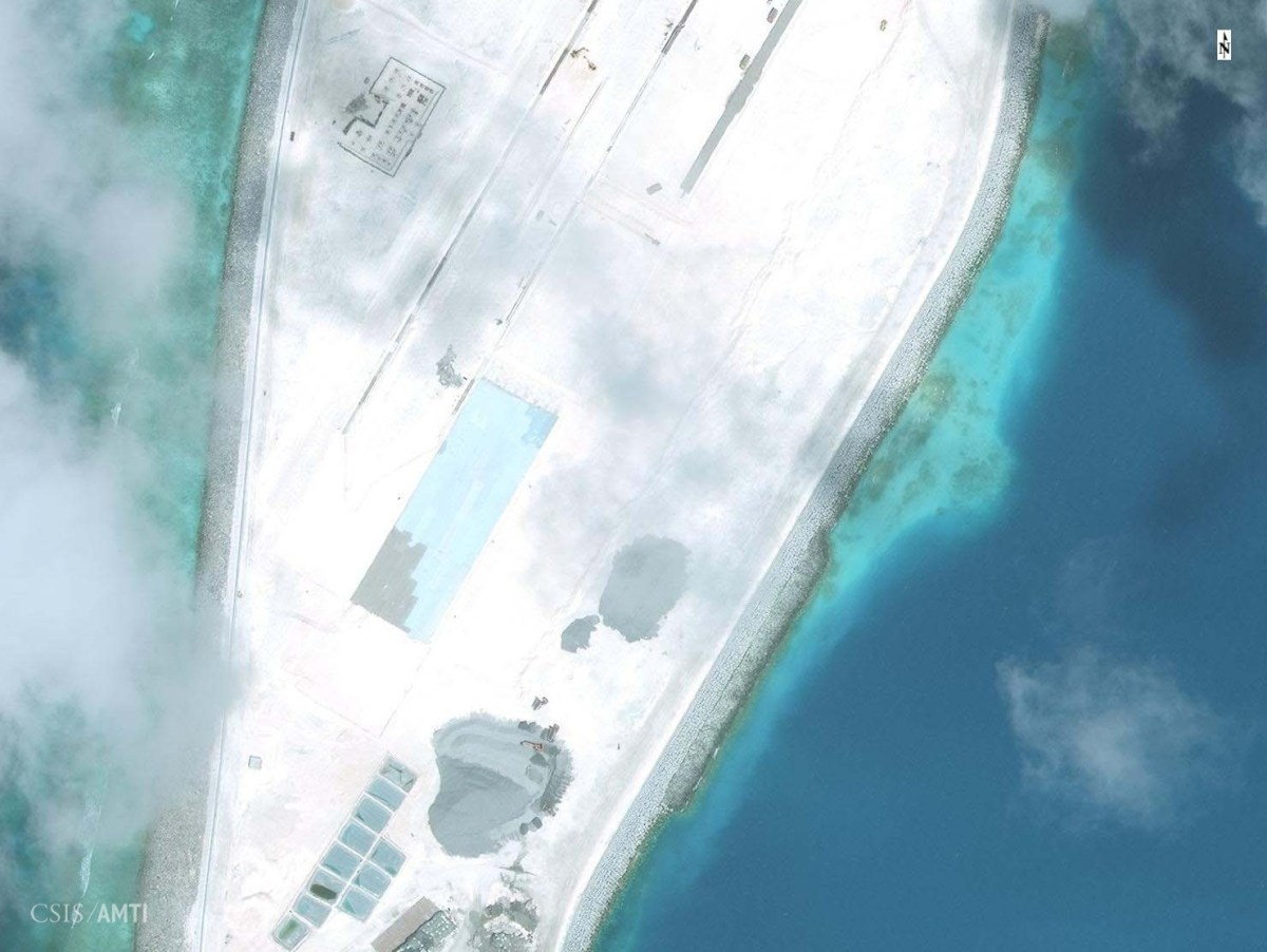 The southern end of the Mischief Reef runway as of December 5.