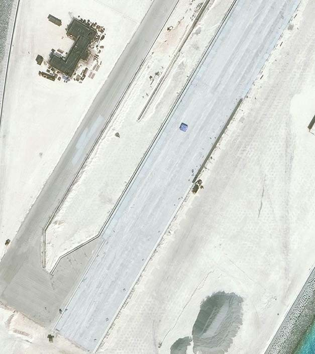 The southern end of the Mischief Reef runway as of January 8.