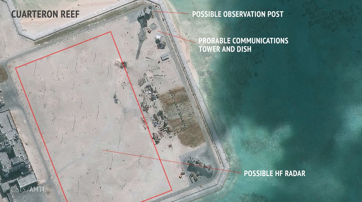 The southern section of China's outpost on Cuarteron Reef, as of January 24, 2016.