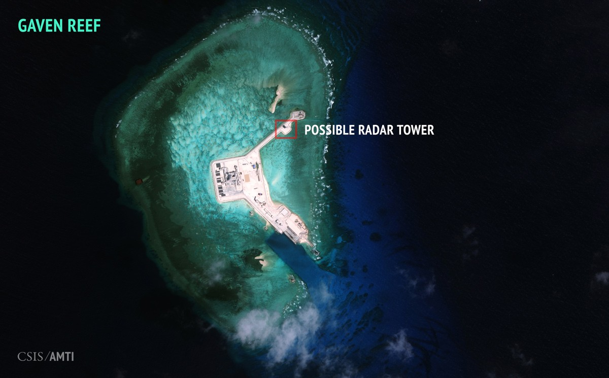 China's artificial island on Gaven Reef, as of February 12, 2016.