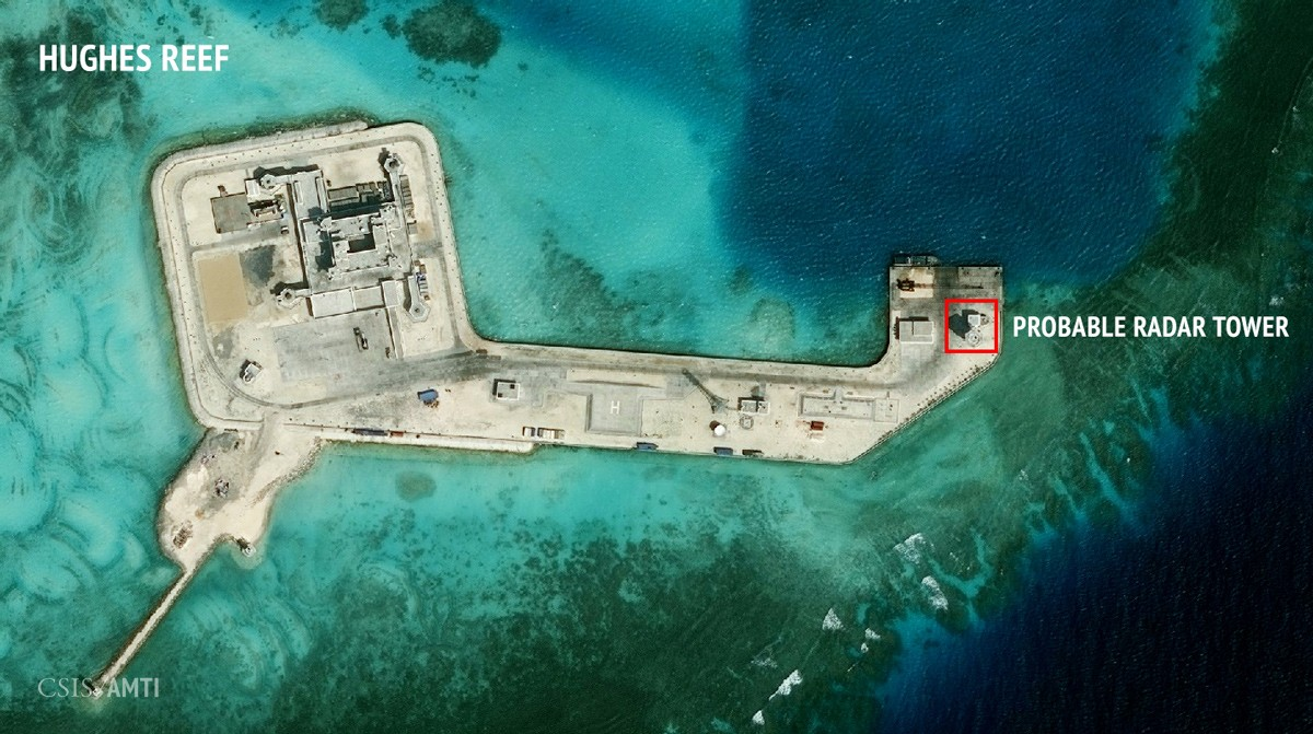 China's artificial island on Hughes Reef, as of February 7, 2016.
