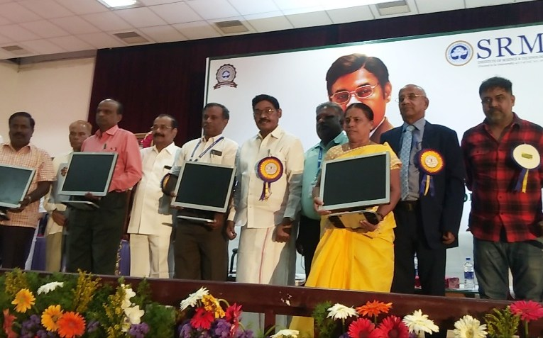 100 computers gifted by SRM Chancellor to government run schools in Perambular