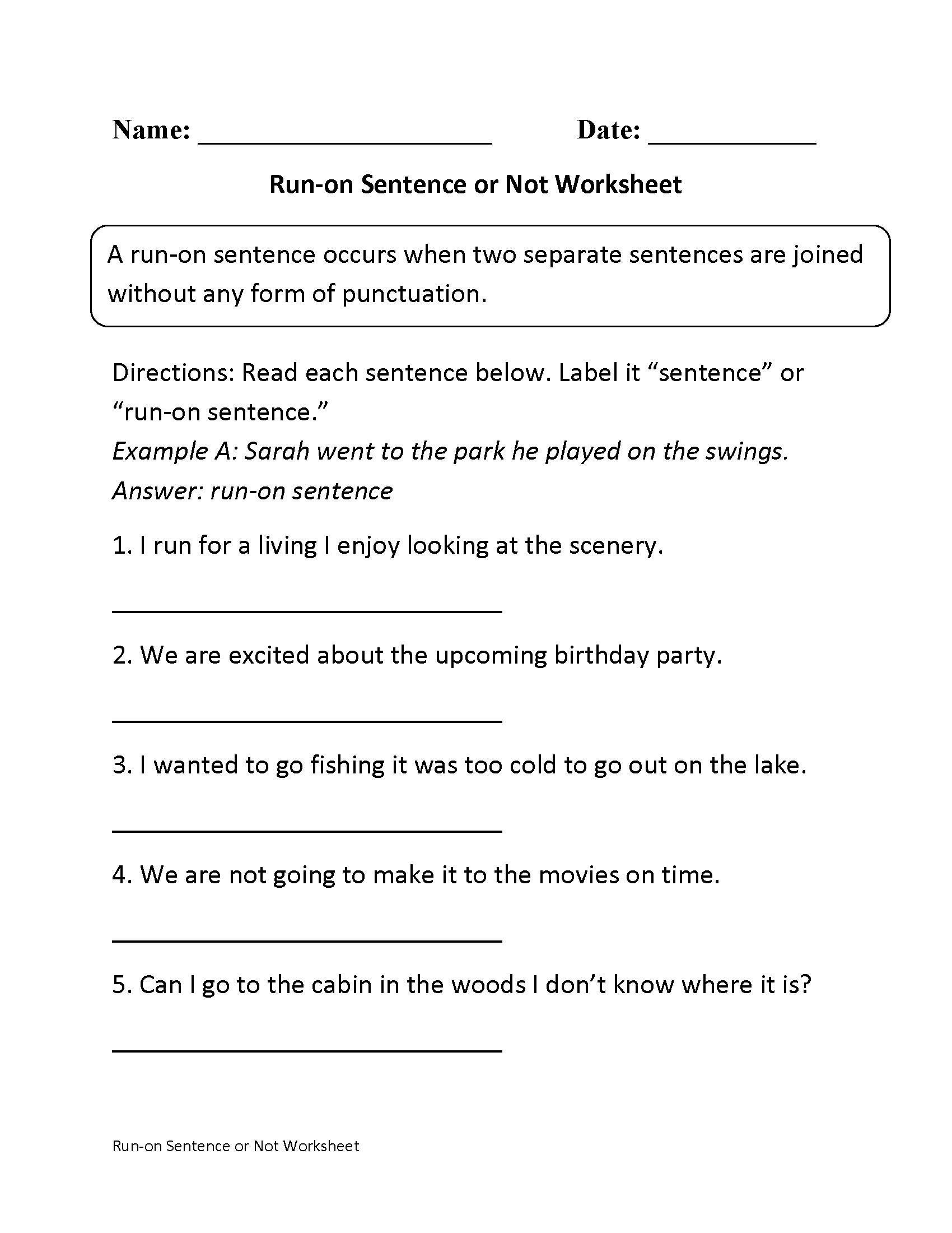 Run On Sentence Worksheet