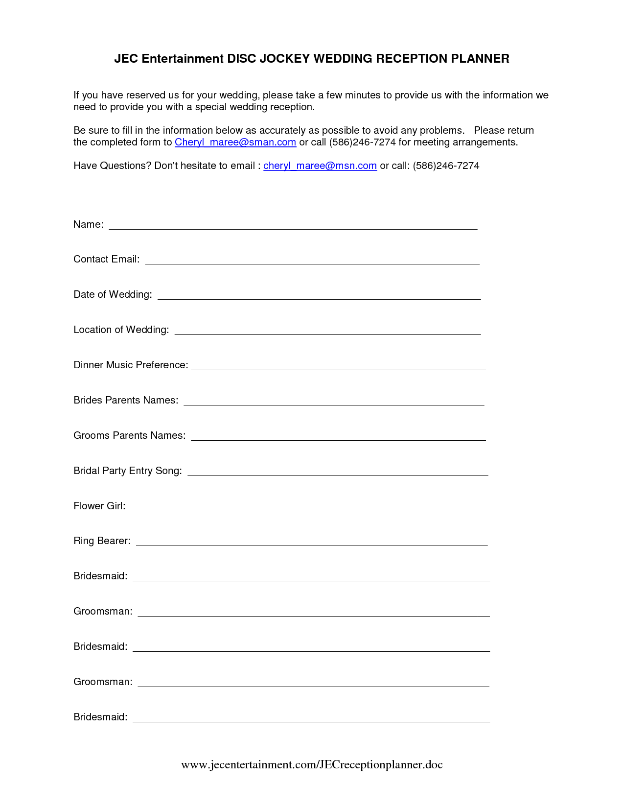 Dj Wedding Planner Form