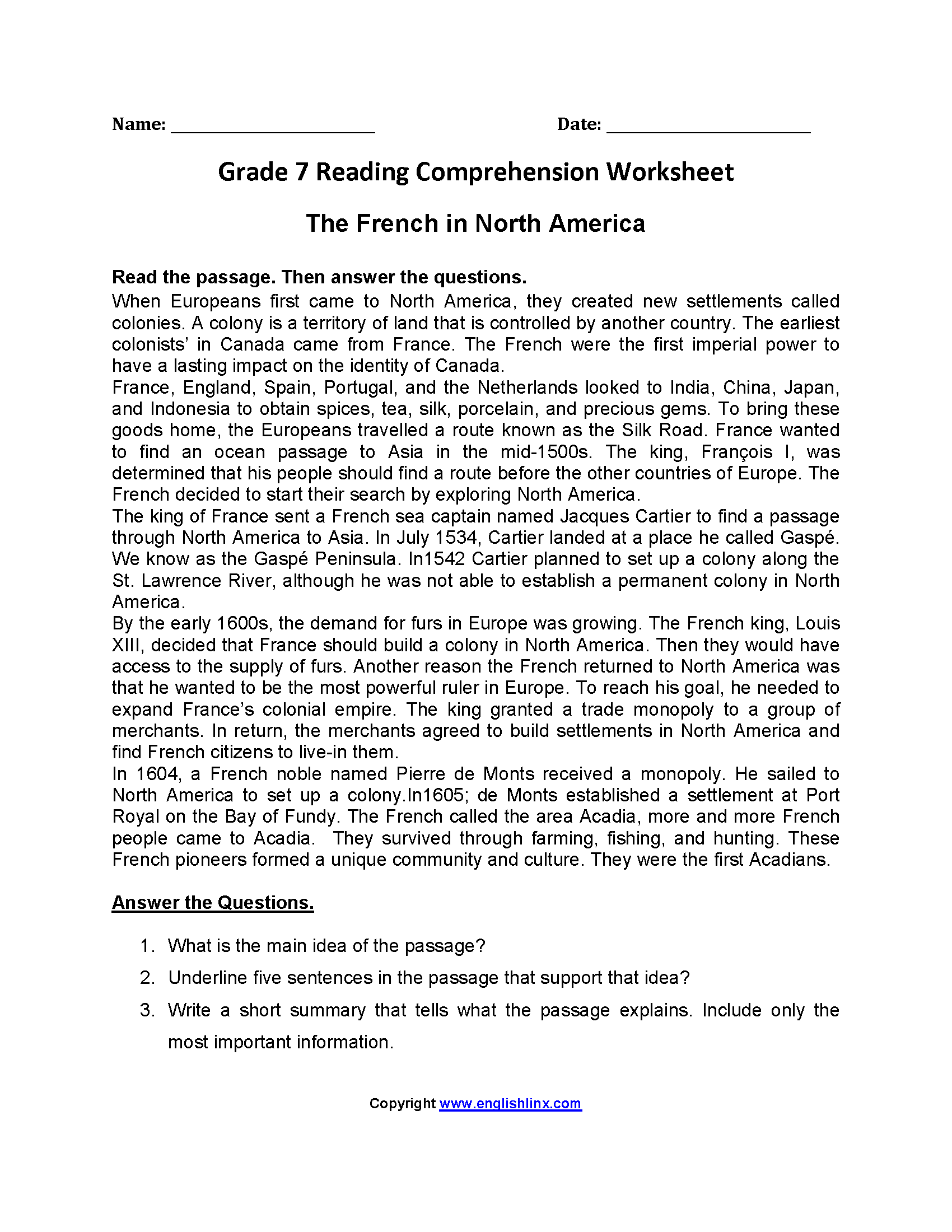 Grade 7 Reading Comprehension Worksheets
