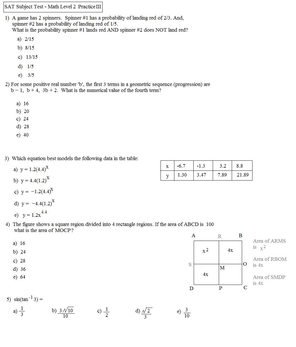 Sat Geometry Practice