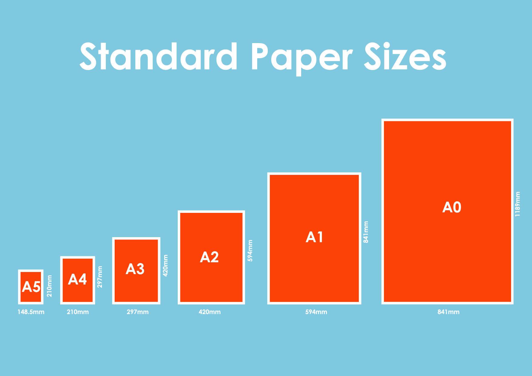 standard printer paper sizes