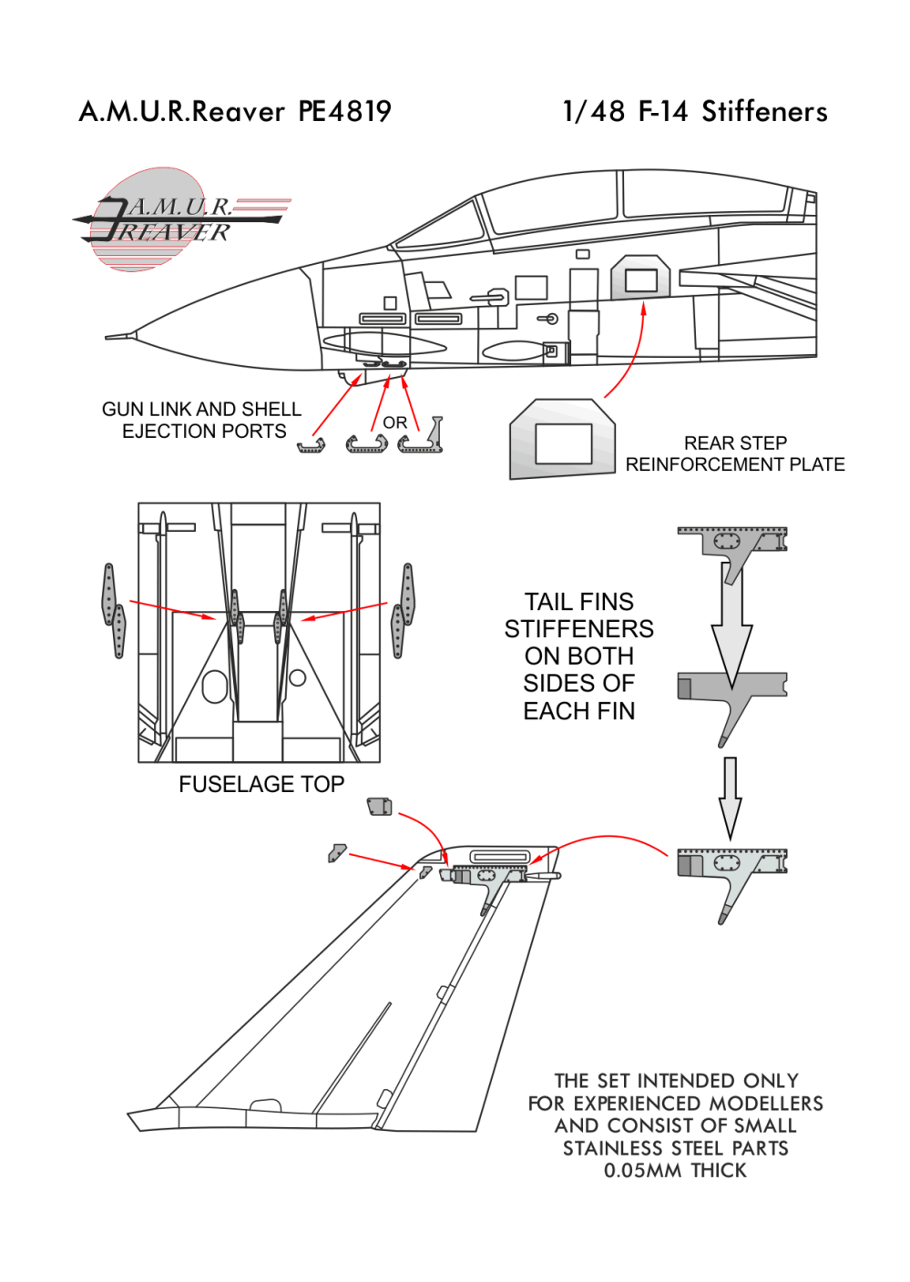 medium resolution of set of stiffeners for any model of f 14 tomcat in 1 48