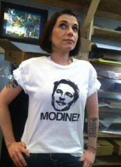 Tara Dublin in Mathew Modine tee