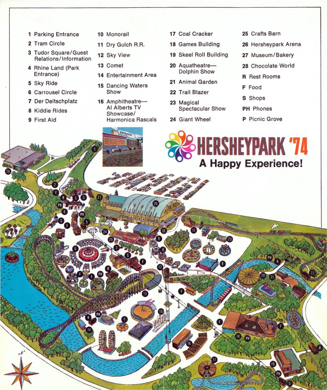 1974 Hersheypark map