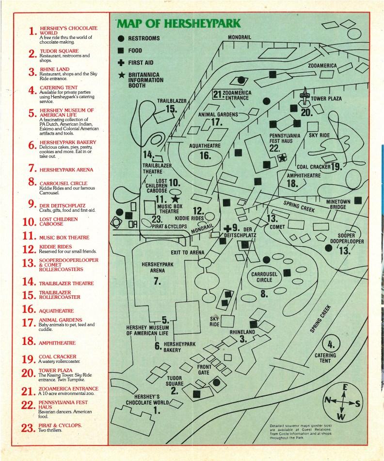 1980 Hersheypark map