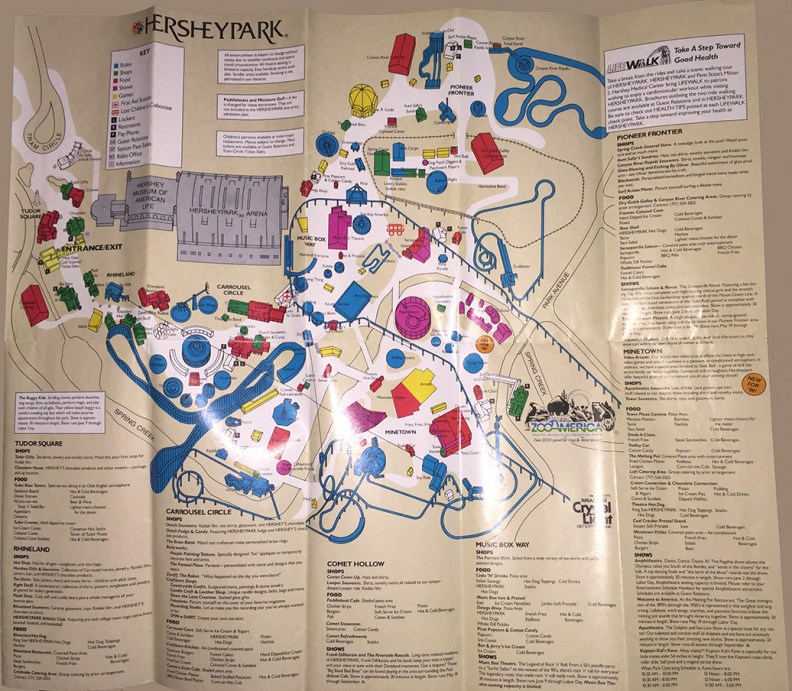 1990 Hersheypark map