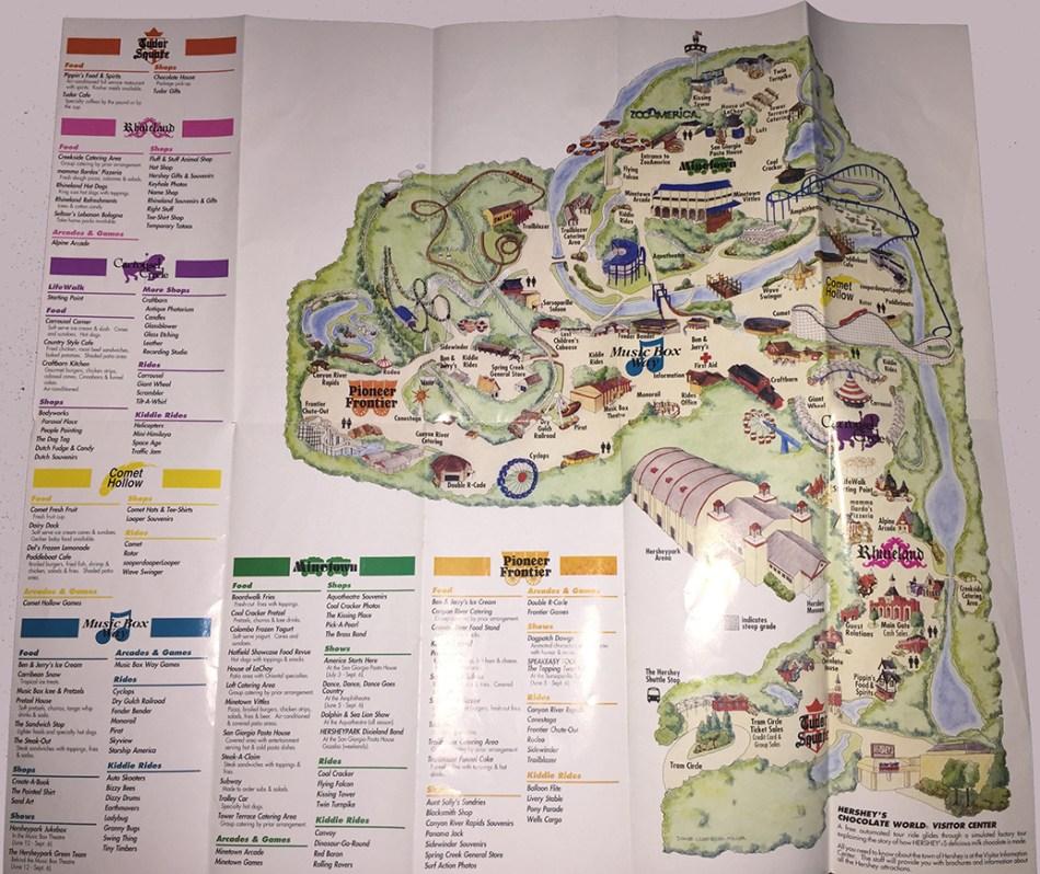 1993 Hersheypark map