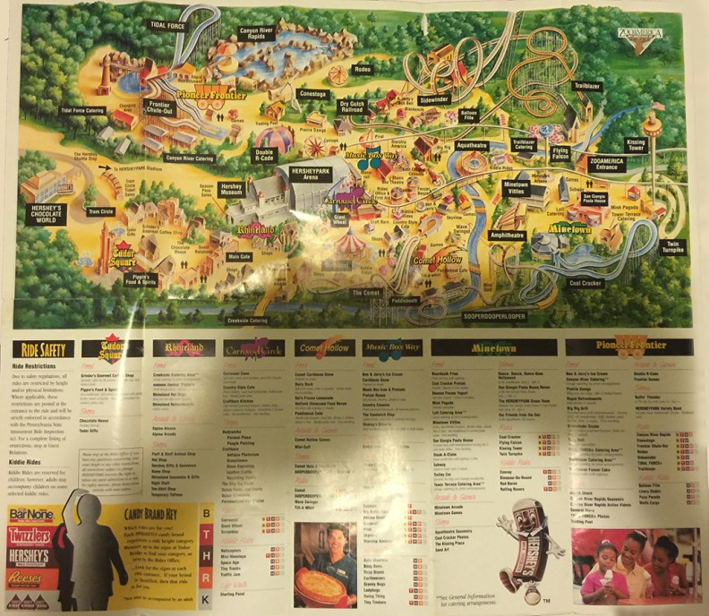 1995 Hersheypark map