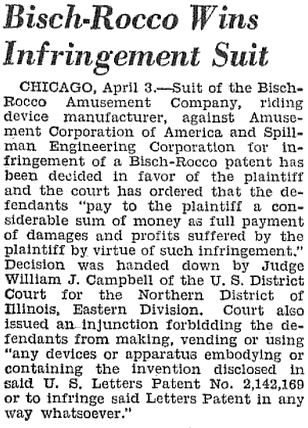 Bisch-Rocco Wins Infringement suit regarding Aerial Joy Ride, The Billboard, April 10, 1943, page 83.