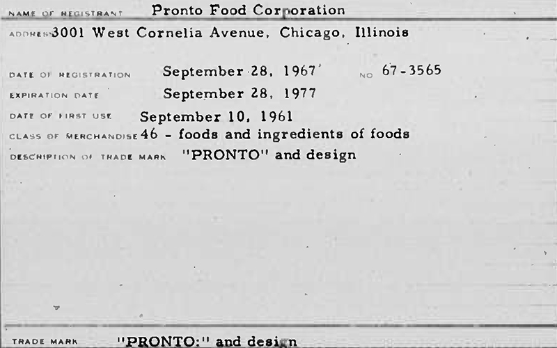 Pronto Food Corporation [Maryland Trademark] (p1523)
