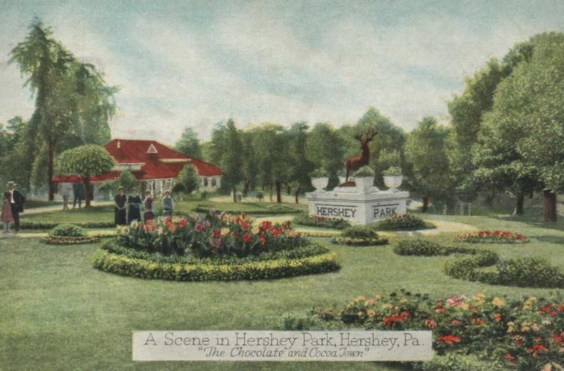 1930 ~ Hershey Park Main Entrance Elk