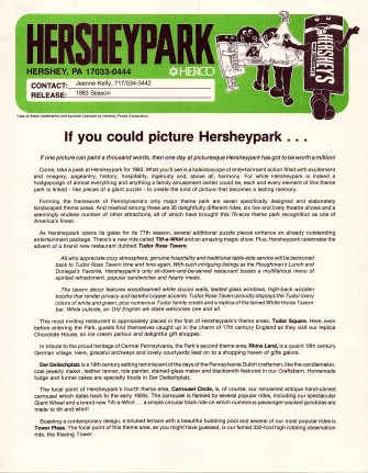 "1983 Press Release: ""If you could picture Hersheypark..."" features information about the new restaurant, Tudor Rose Tavern, and the seven theme areas in Hersheypark. (Page 1)"