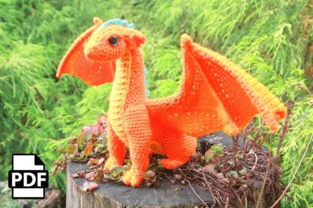 Amazon.com: Animal Amigurumi: Mini asian dragon pattern, miniature ... | 426x640