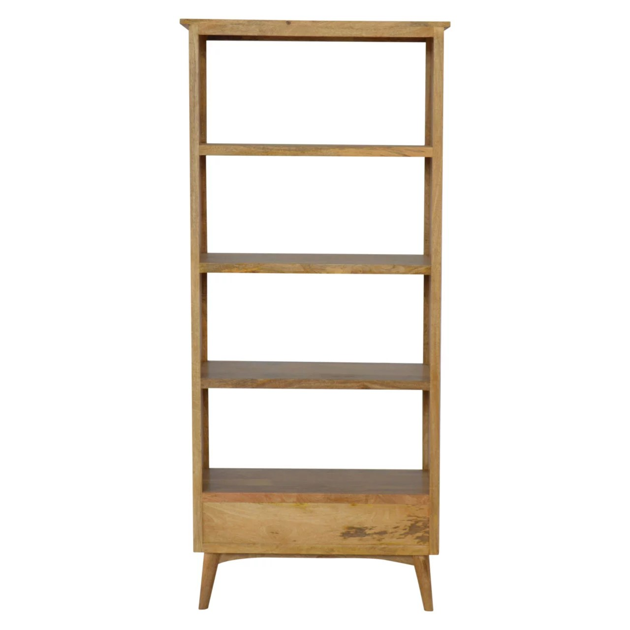 Solid Wood Bookcase With 2 Drawers 4 Shelves