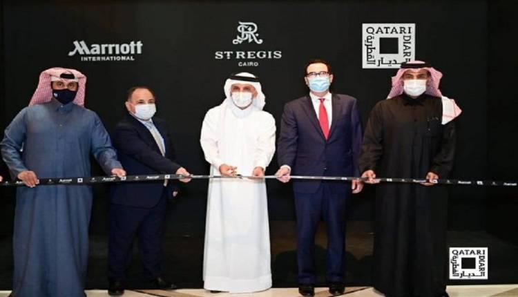 وزراء المالية من مصر وقطر ووزير الخزانة الأمريكي خلال افتتاح فندق الديار القطرية في القاهرة