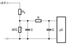 NTC thermistor temperature measure select