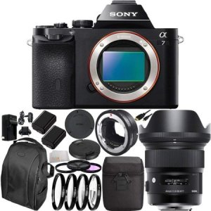 Sony Alpha a7S Mirrorless Digital Camera with EF Converter
