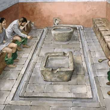 Painted image of ancient roman toilets. Two men are using them, holding a sponge brush. There is no privacy.