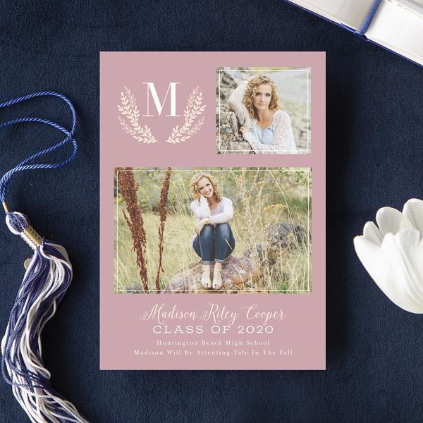 Navy Floral Announcement Card