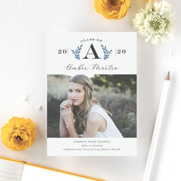 Flower print monochrome graduation announcement