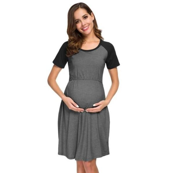 Breastfeeding Pregnancy Dress - Black
